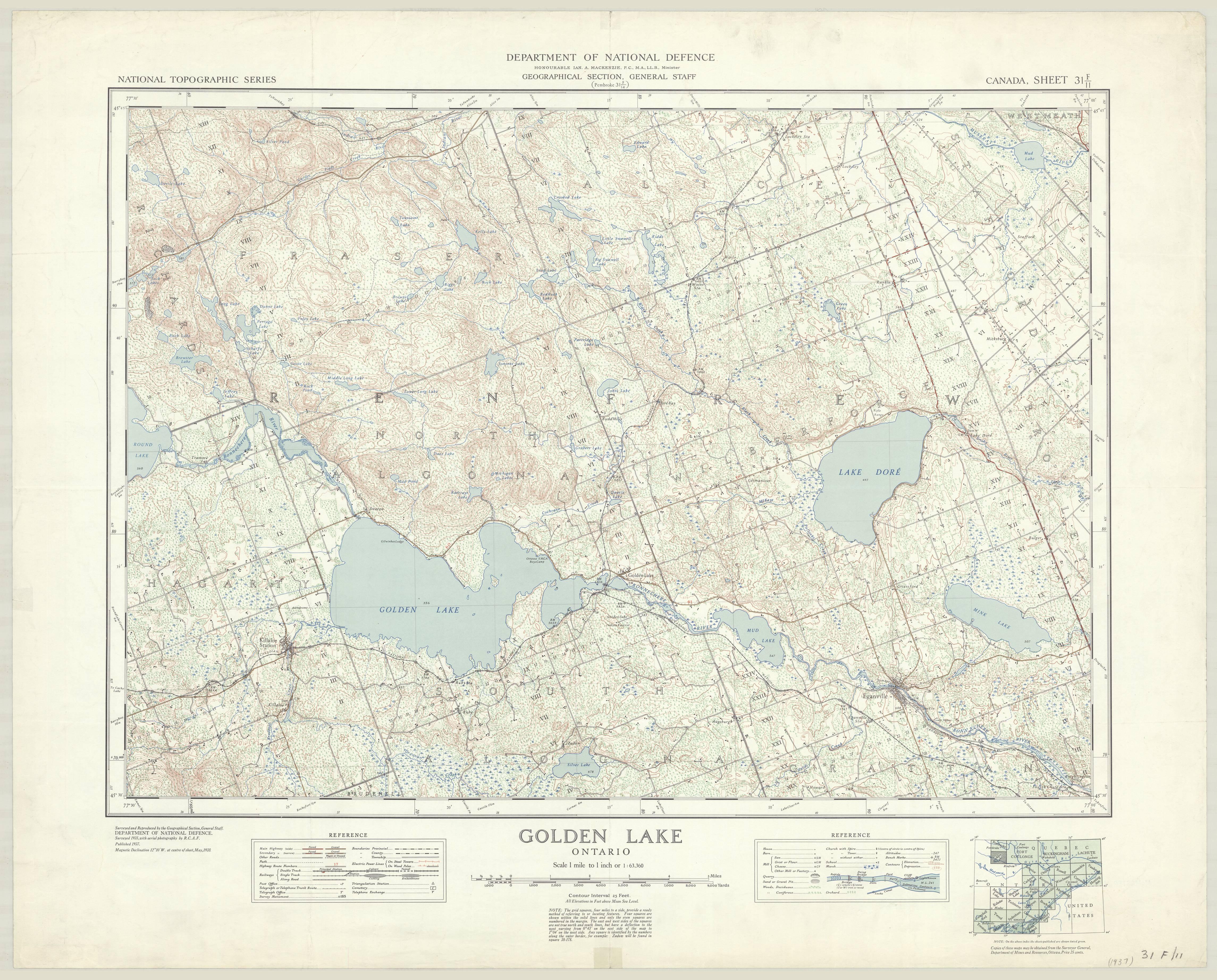 Golden Lake, Ontario. 1:63,360. Map Sheet 031F11, [ed. 1], 1937