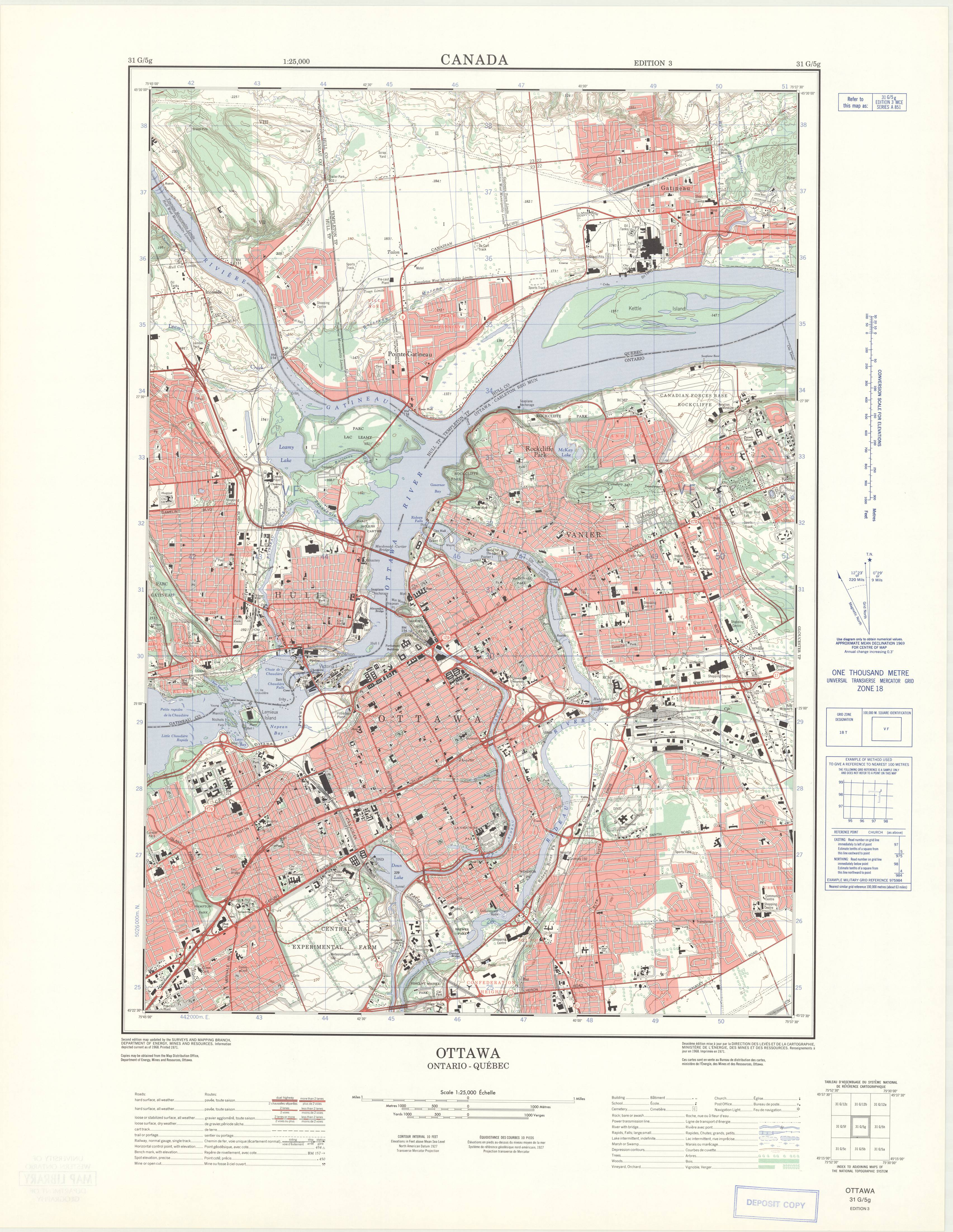 Ottawa, Ontario. 1:25,000. Map Sheet 031G05G, ed. 3, 1971 on human migration map, edo japan map, in-n-out burger map, wall of china map, jack in the box map, cn railway map,