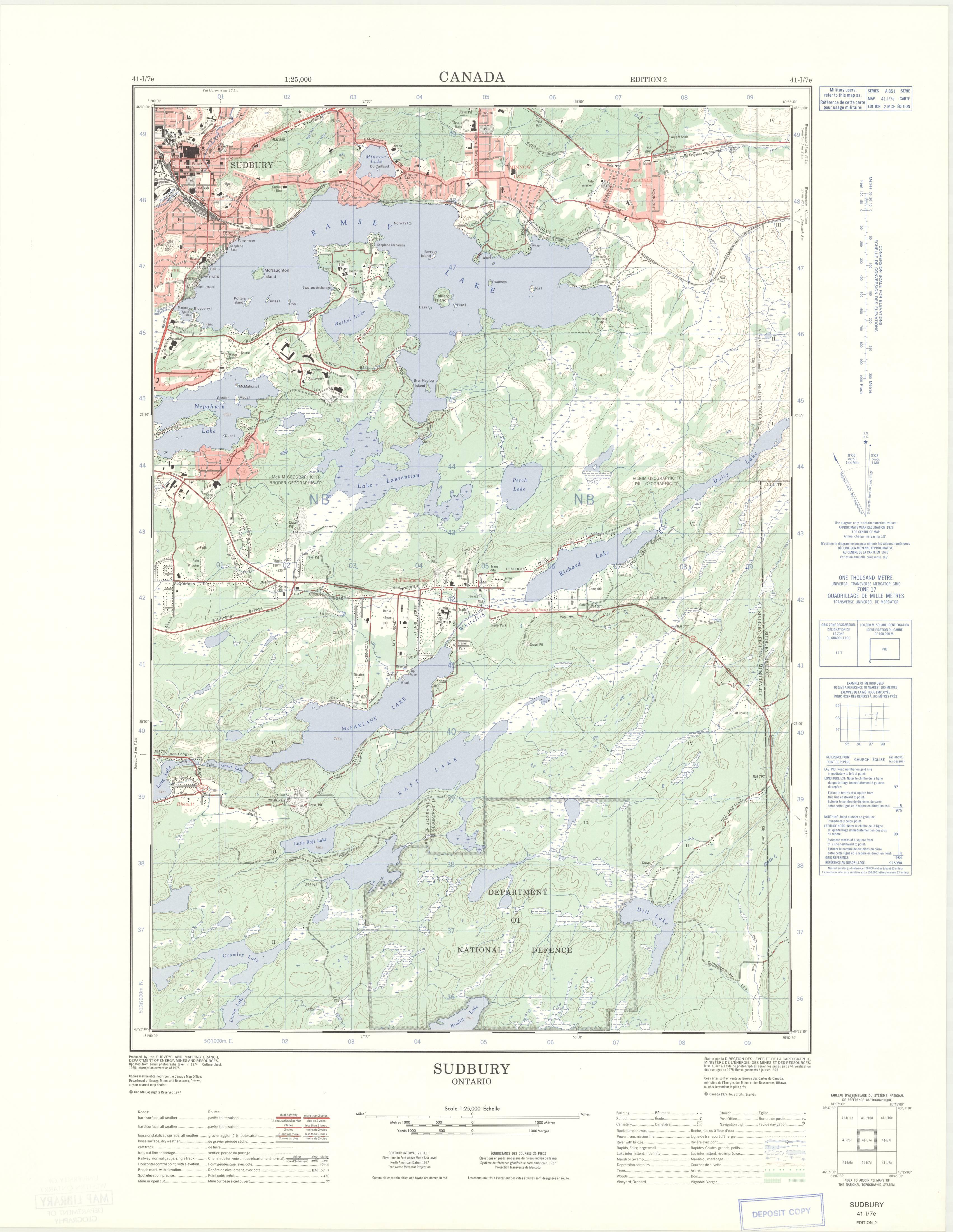 Sudbury, Ontario  1:25,000  Map Sheet 041I07E, ed  2, 1977