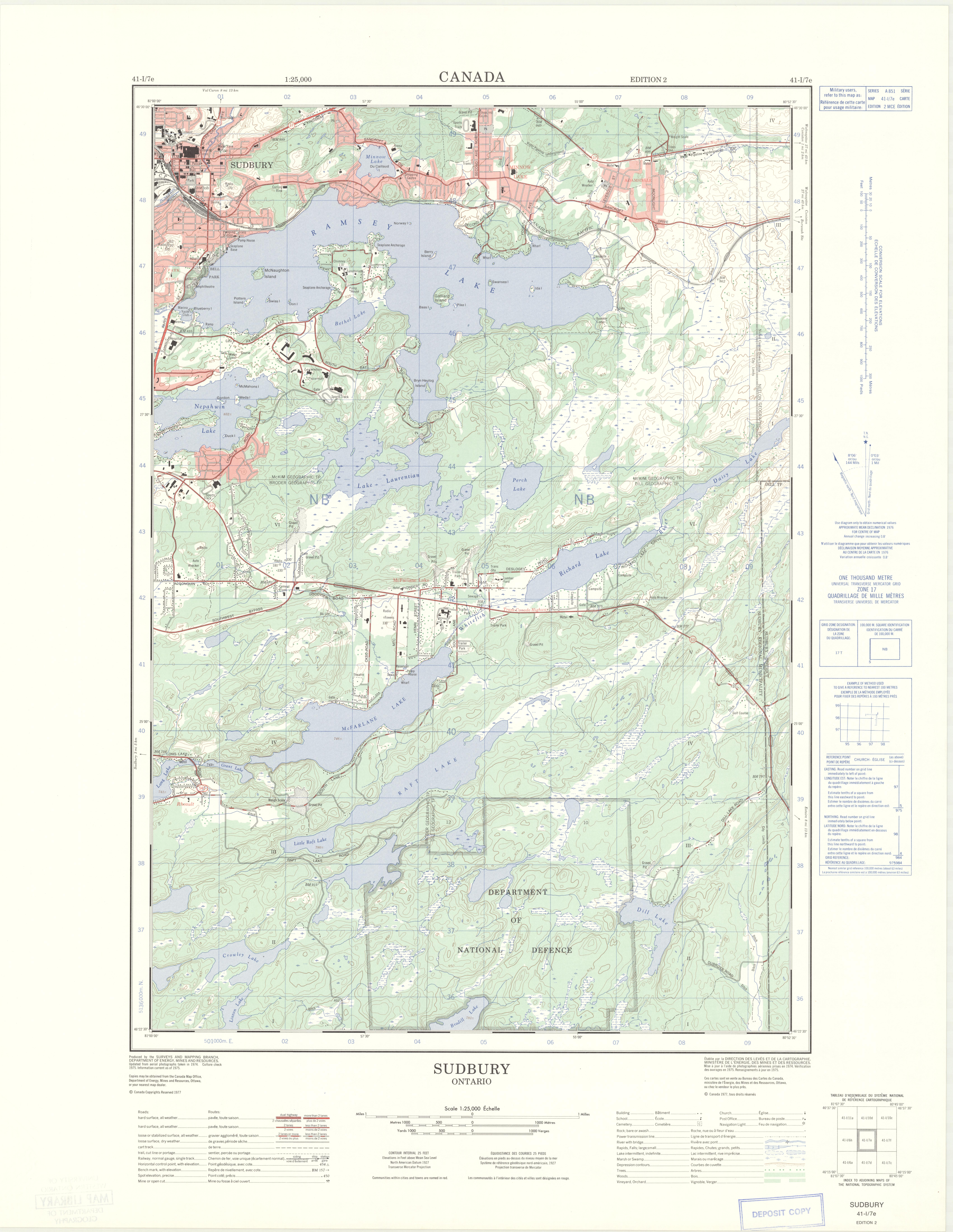 Sudbury Ontario 125000 Map Sheet 041I07E ed 2 1977